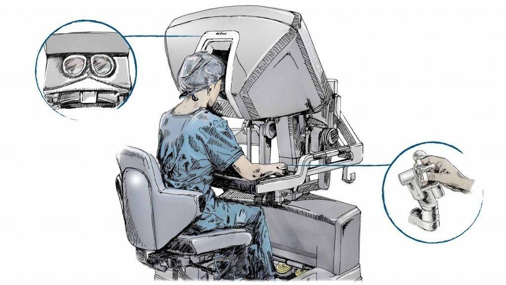 Ein Chirurg arbeitet an der Chirurgenkonsole.