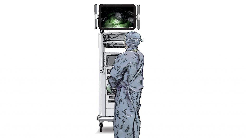 Am Monitor erkennt der Arzt Durchblutungsstrukturen.