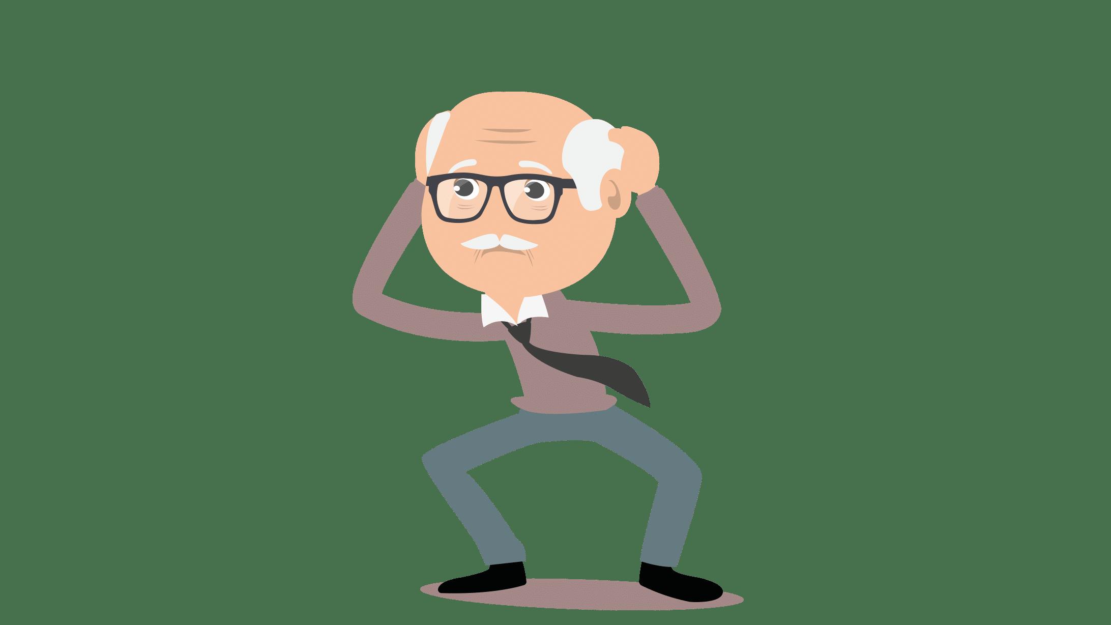 Illustration eines älteren Mannes, der nicht weiss, was er tun soll.