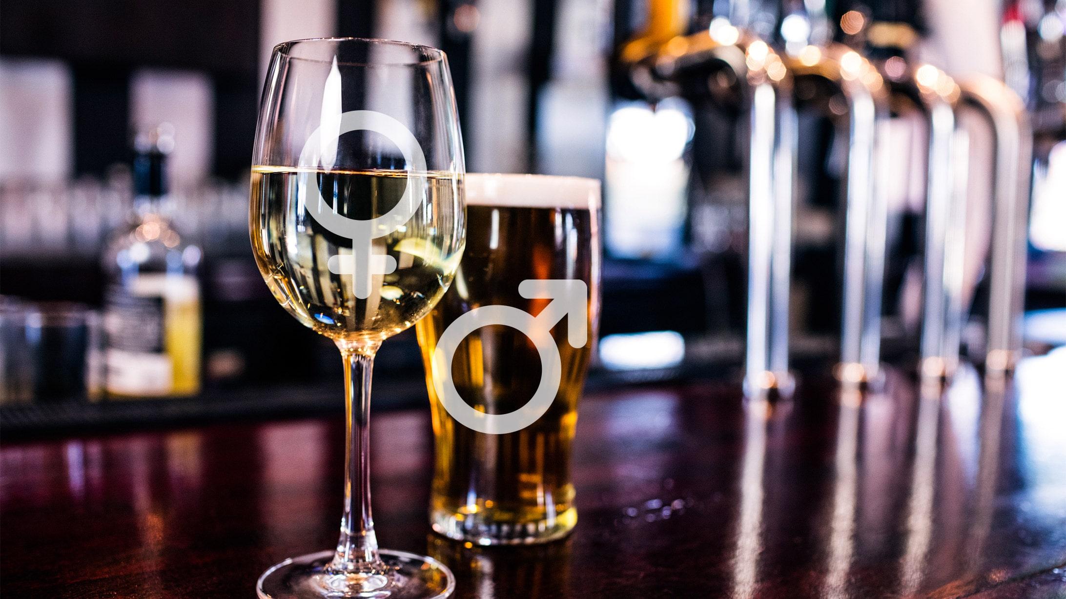 Alkoholkonsum bei Frau und Mann dargestellt als Trinkgläser