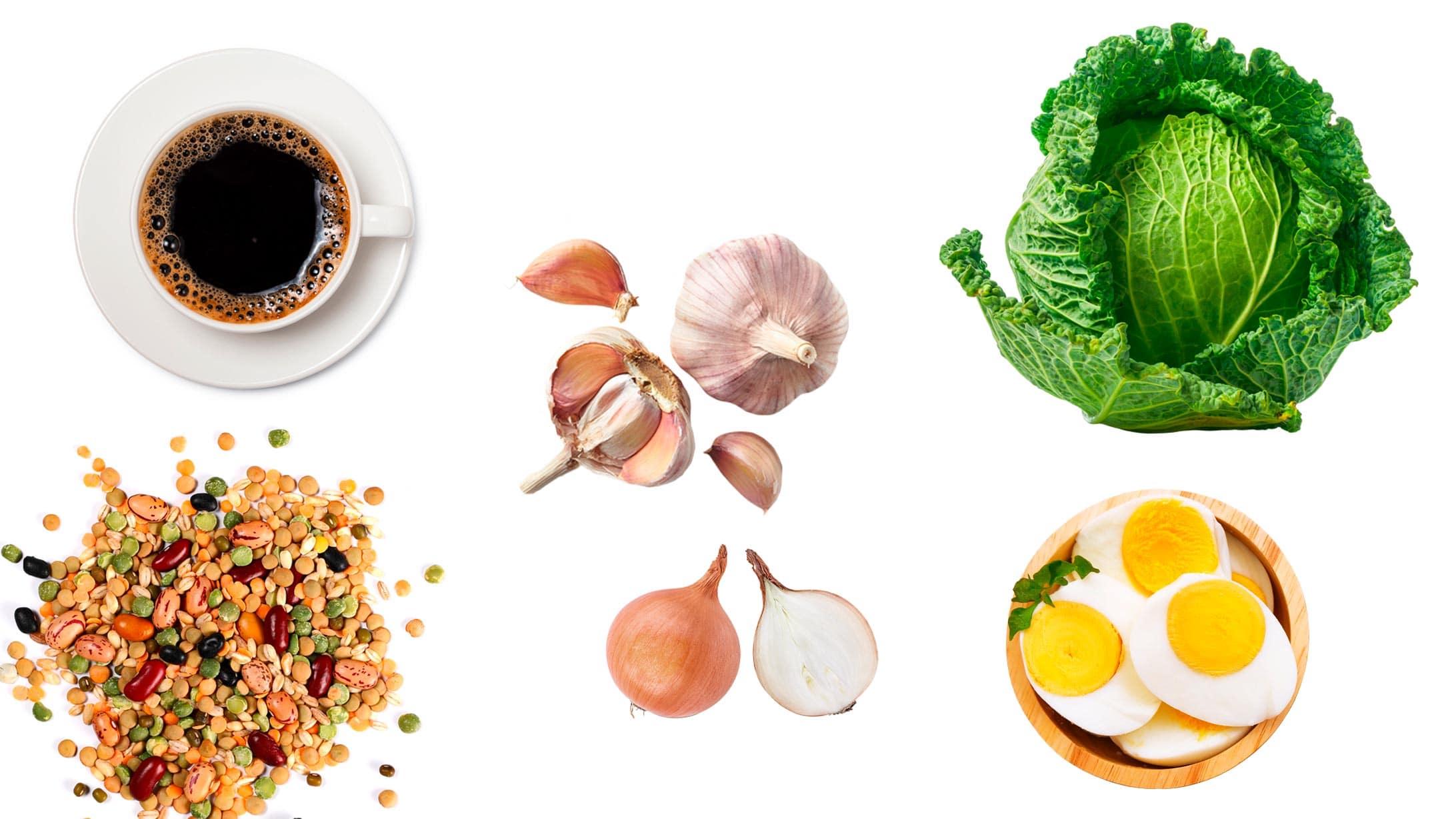 Abbildung Kaffe, Bohnen, Eier, Knoblauch und Kohl