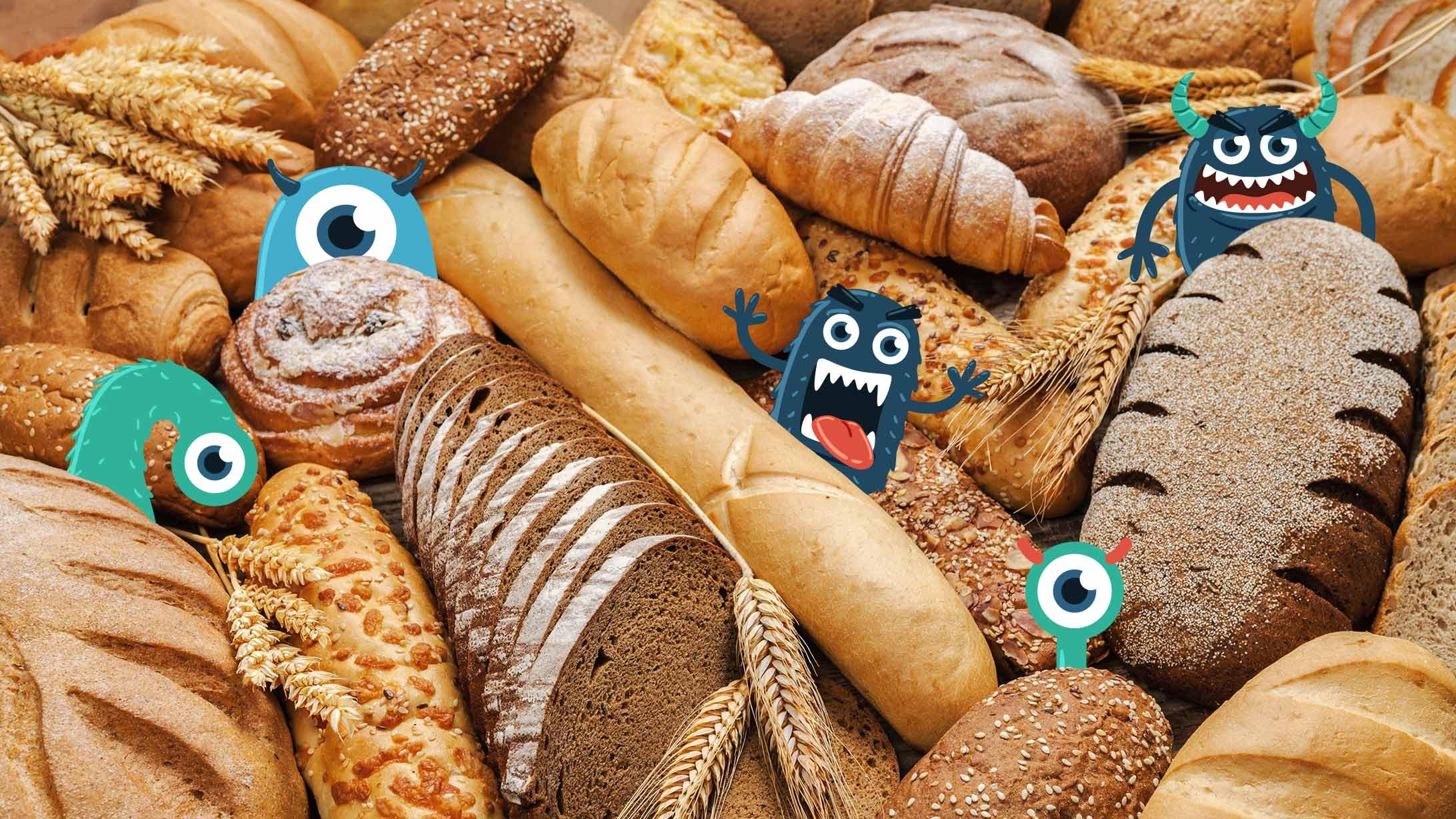 Gezeichnete kleine Monster, die sich hinter Brot verstecken